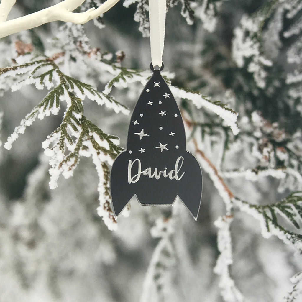 PERSONALISED ROCKET CHRISTMAS DECORATION