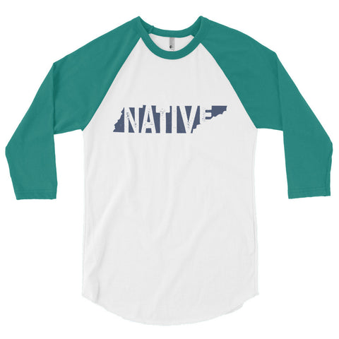 Tennessee Native Navy Print - 3/4 sleeve raglan shirt