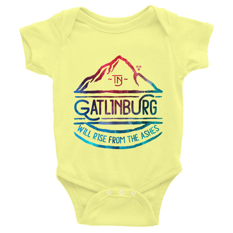 Gatlinburg Will Rise Watercolor - Infant short sleeve one-piece - onesie