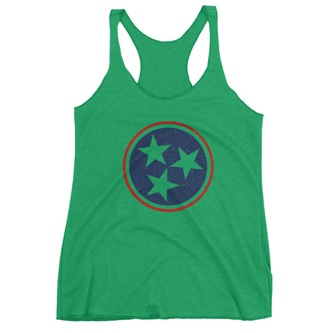 TN Circle and Stars - Navy and Red - Women's tank top - Creature Collective