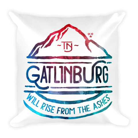 Gatlinburg Will Rise Watercolor - Square Pillow