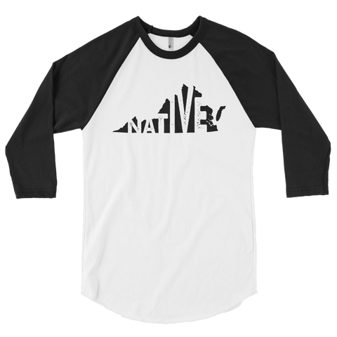 Virginia Native Black Print - 3/4 sleeve raglan shirt