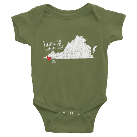 Home is where the heart is - Bristol, VA - Infant short sleeve one-piece - onesie