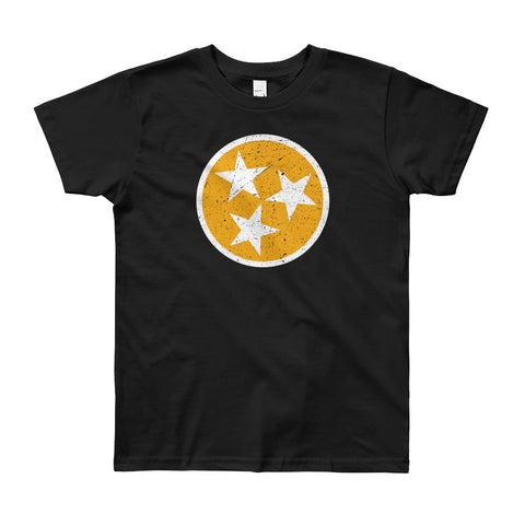 TN Circle and Stars - Orange and White - Youth 8-12 Short Sleeve T-Shirt