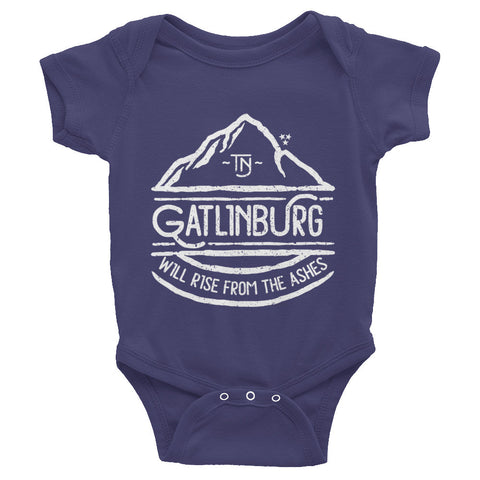 Gatlinburg Will Rise White Print - Infant short sleeve one-piece