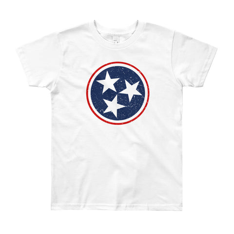 TN Circle and Stars - Navy and Red - YOUTH 8-12 yrs Short Sleeve T-Shirt
