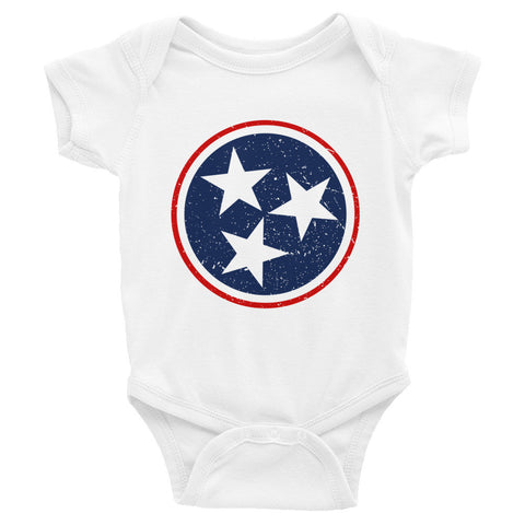 TN Circle and Stars - Navy and Red - Infant short sleeve one-piece - ONESIE