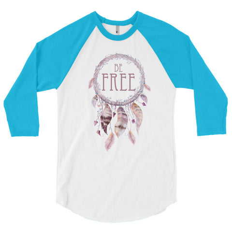 Be Free Dreamcatcher - 3/4 sleeve raglan shirt - Creature Collective
