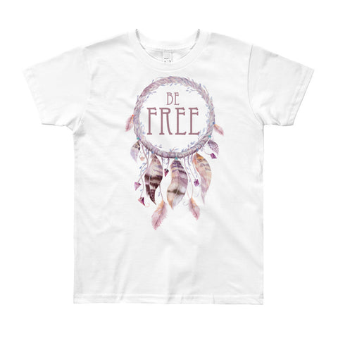 Be Free Dreamcatcher - YOUTH 8-12 Short Sleeve T-Shirt
