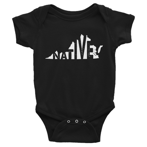 Virginia Native White Print - Infant short sleeve one-piece - onesie