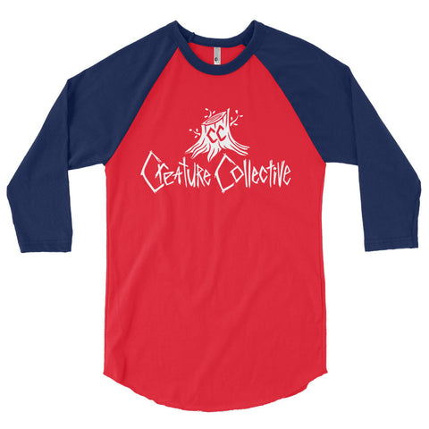 Creature Collective Simple White Logo - 3/4 sleeve raglan shirt