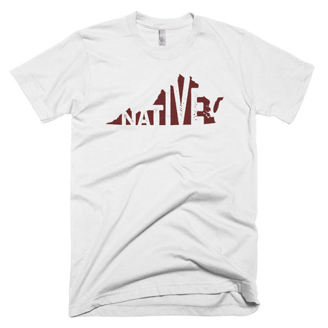 Virginia Native Maroon Print - Short sleeve men's t-shirt