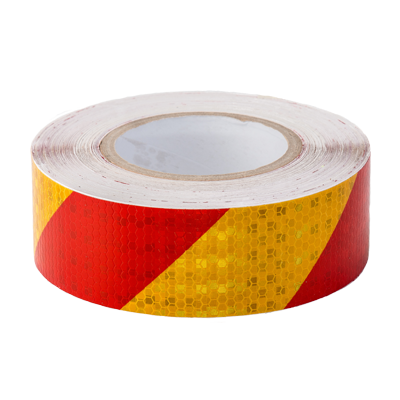 Red & Yellow Reflective Hazard Tape 50mm x 30m - ConspicuityTape.co.uk