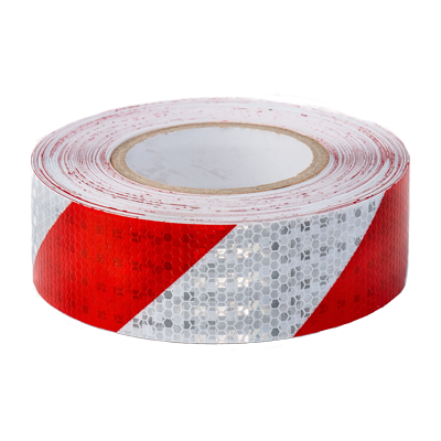 Red & White Reflective Hazard Tape 50mm x 30m - ConspicuityTape.co.uk