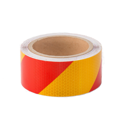 Red & Yellow Reflective Hazard Tape 50mm x 10m - ConspicuityTape.co.uk