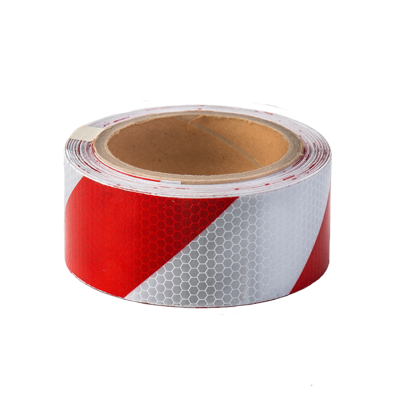 Red & White Reflective Hazard Tape 50mm x 10m - ConspicuityTape.co.uk