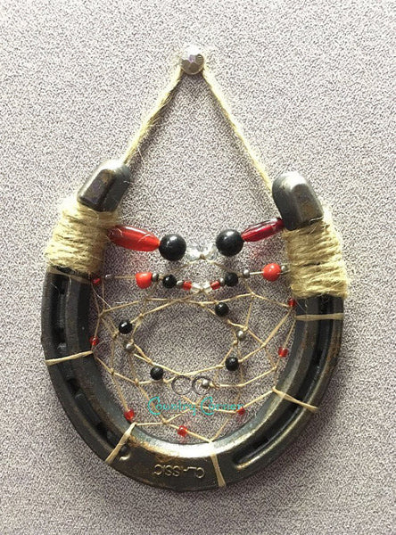 Horseshoe Dreamcatcher | Red and Black Beads