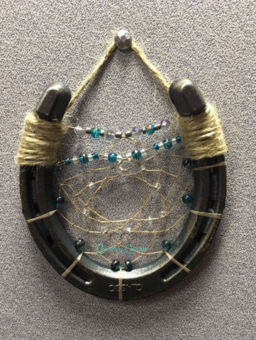 Horseshoe Dreamcatcher | Teal and Green Beads