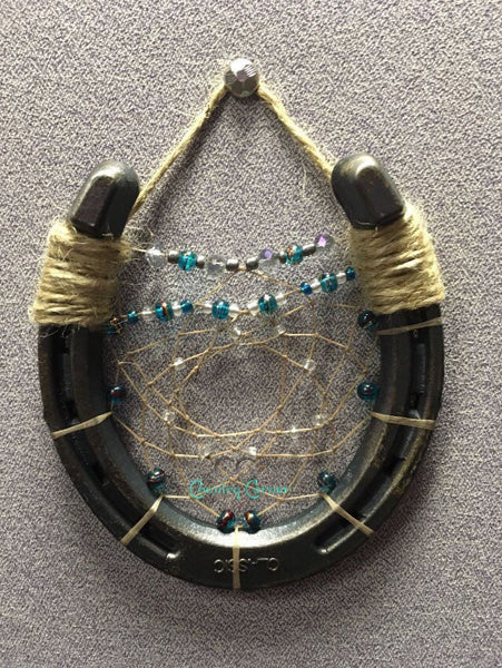Horseshoe Dreamcatcher | Teal and Purple Beads