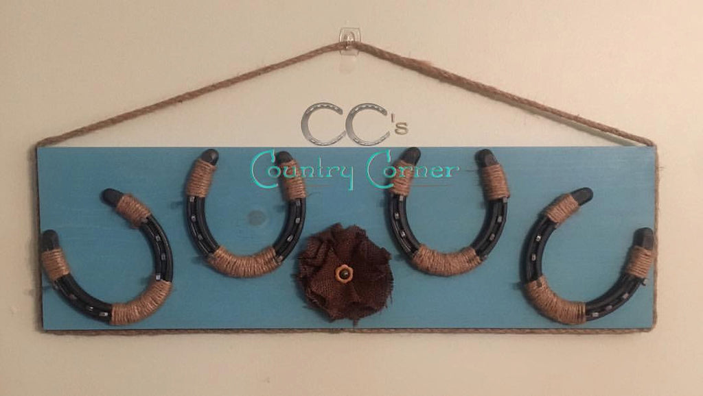 Horseshoe Jewelry Holder | Teal or Aqua | Key Holder | Organizer