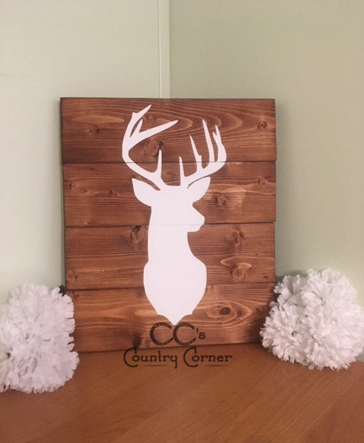 "Deer Head Silhouette Sign | Pallet Style Wood Sign | 14"" x 12"""