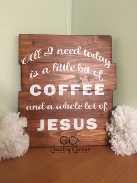 "Coffee & Jesus Sign | Pallet Style Wood Sign | 14"" x 12"""