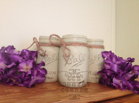 Distressed Mason Jars | Light Green | Set of 3