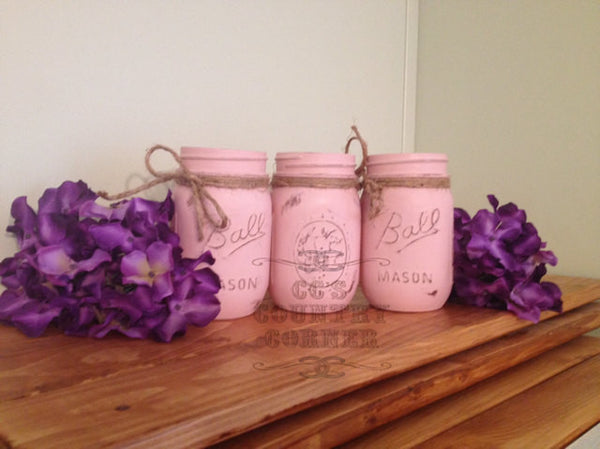 Distressed Mason Jars | Light Pink | Set of 3