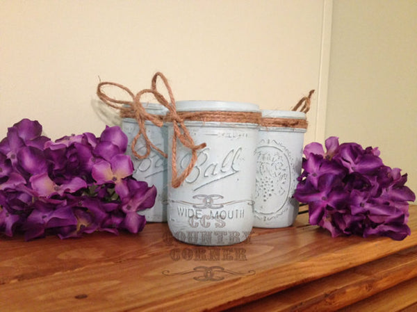 Distressed Mason Jars | Light Blue or Pool Color | Set of 3