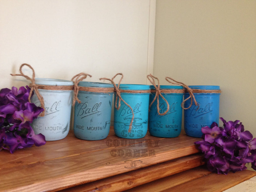 Distressed Mason Jars | Shades of Blue | Set of 5