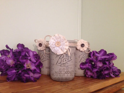 Distressed Mason Jars | Taupe | Set of 3