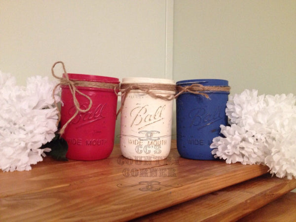 Distressed Mason Jars | Red, White & Blue | Set of 3
