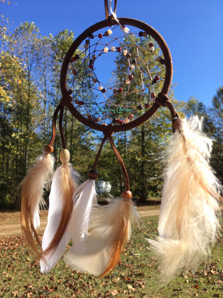 "Dreamcatcher with Feathers | Brown and White Beads | 4"" in Diameter"