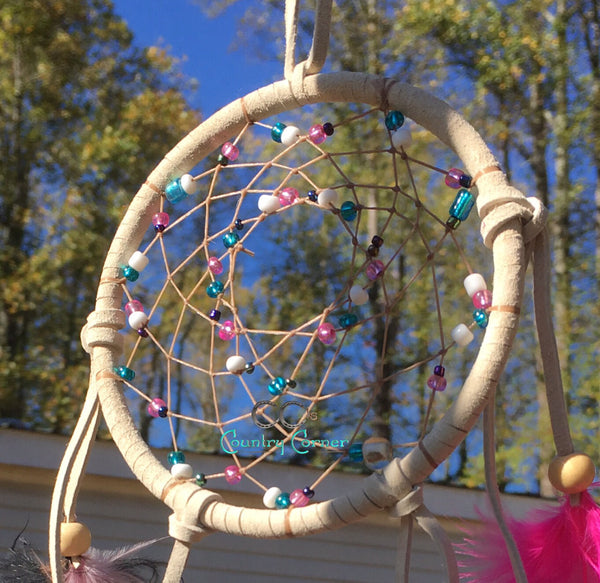 "Dreamcatcher with Feathers | Rainbow Inspired Multicolored Beads | 4"" in Diameter"