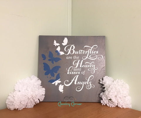 "Butterfly Kisses Wood Sign | 12"" x 12"""