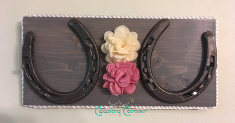 Horseshoe Jewelry Holder | Grey, Pink and White