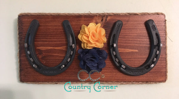 Horseshoe Jewelry Holder | Honey Stained with Navy and Yellow Burlap Flowers