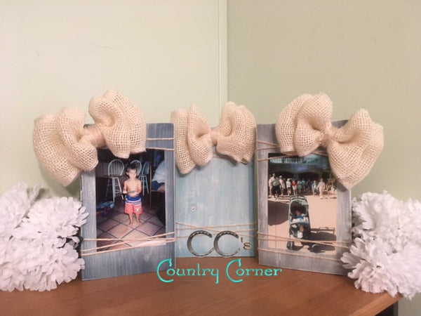 Wood Photo Block | Turquoise Stain and White