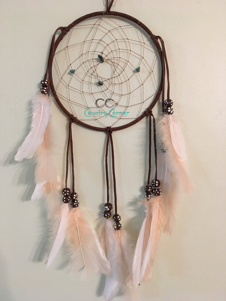 "Dreamcatcher with Feather | Genuine Turquoise | 7"" in Diameter"