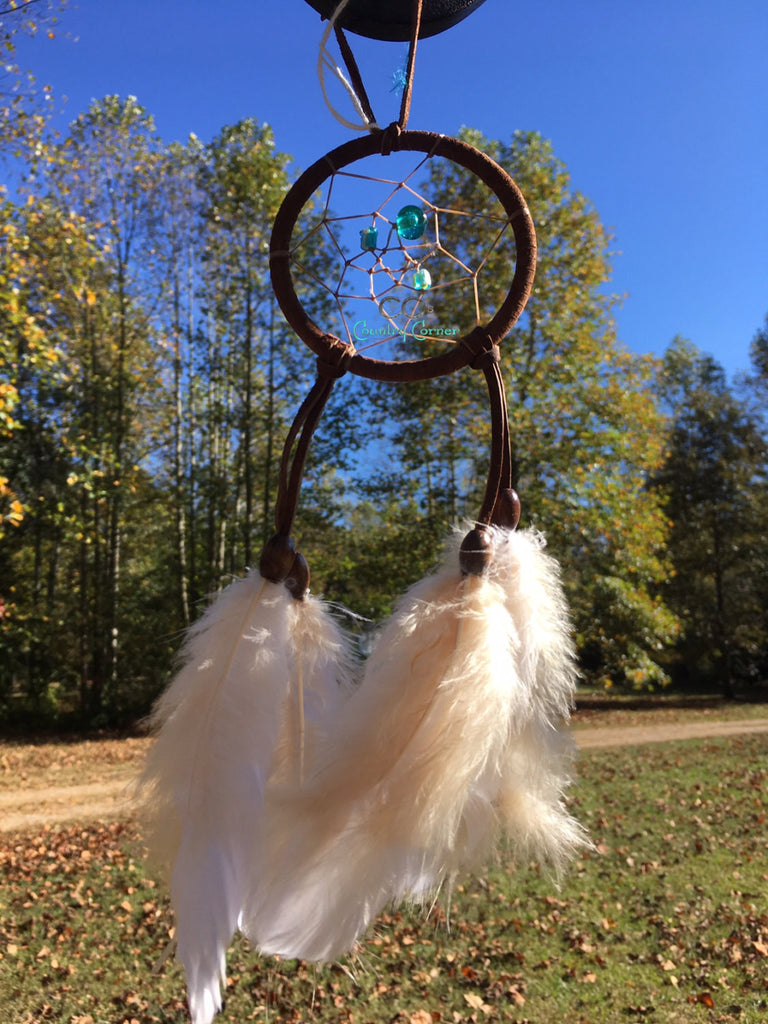 "Dreamcatcher with Feathers | Shades of Blue Beads | 3"" in Diameter"
