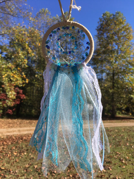 "Dreamcatcher Boho Style Shades of Blue and White 3"" in diameter"