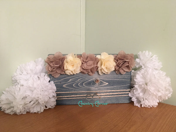 Wood Photo Block | Blue Stain w Burlap Flowers