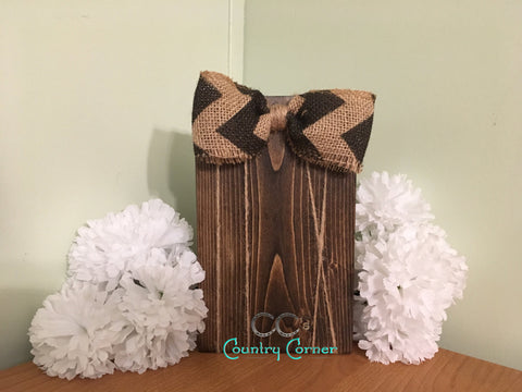 Wood Photo Frame | Dark Stain with Burlap and Black Chevron Bow