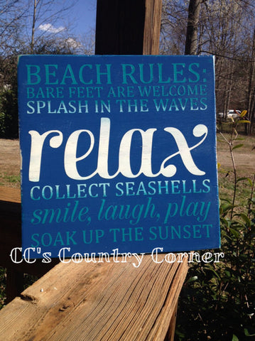 "Beach Rules Wood Sign 12"" x 12"""