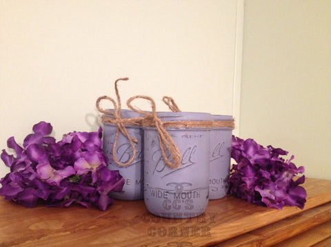 Distressed Mason Jars | Purple or Lavender | Set of 3