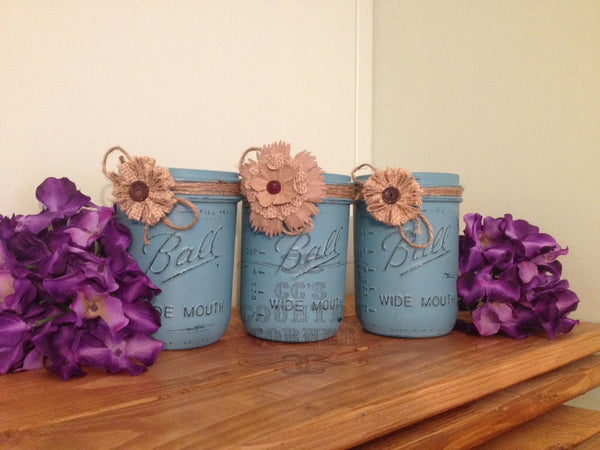 Distressed Mason Jars | Teal or Turquoise | Set of 3