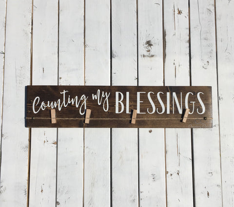 Counting My Blessings Sign | Rustic Wood Photo Hanger