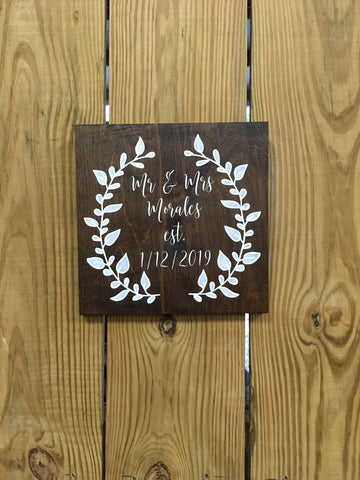 Custom Mr. & Mrs. Established Wood Sign