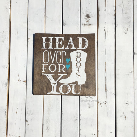 "Head Over Boots For You | Pool Blue Hearts | Wood Sign | 12"" x 12"""