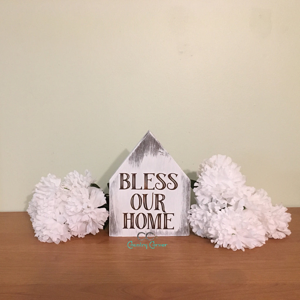 Bless Our Home | House Shaped Sign